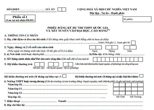 phiếu đăng ký dự thi thpt quốc gia