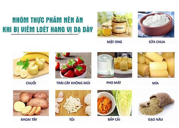 thực phẩm nào để hỗ trợ điều trị viêm loét hang vị dạ dày